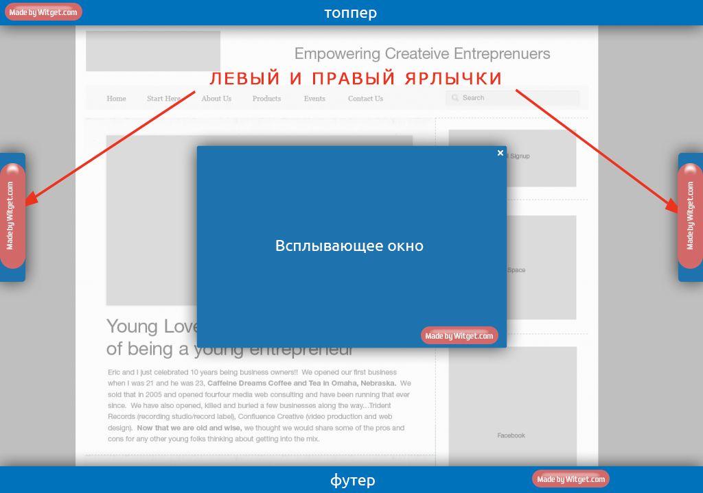 Witget.com - элементы брендирования Витжетов - дизайнер optimuzzy