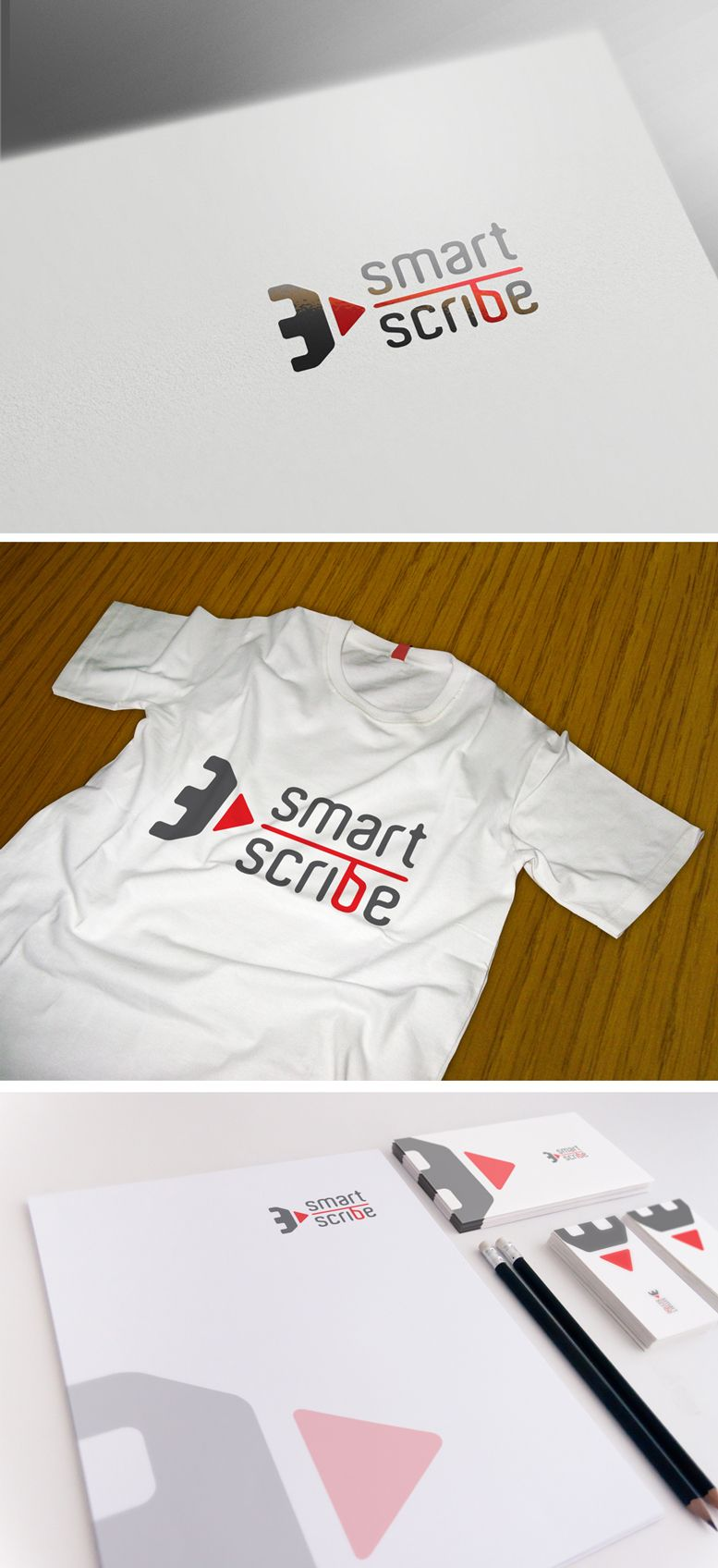 Лого, визитка и шаблон презентации для SmartScribe - дизайнер GreenRed
