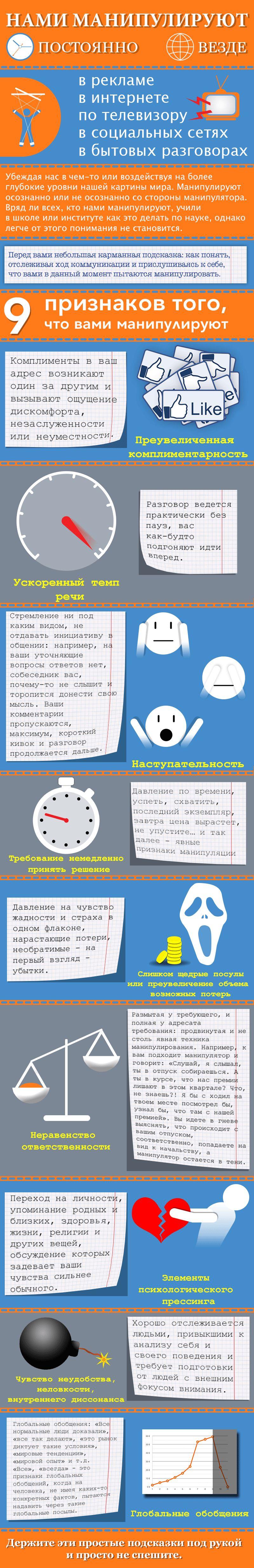 Инфографика по манипуляциям в переговорах  - дизайнер pavmur