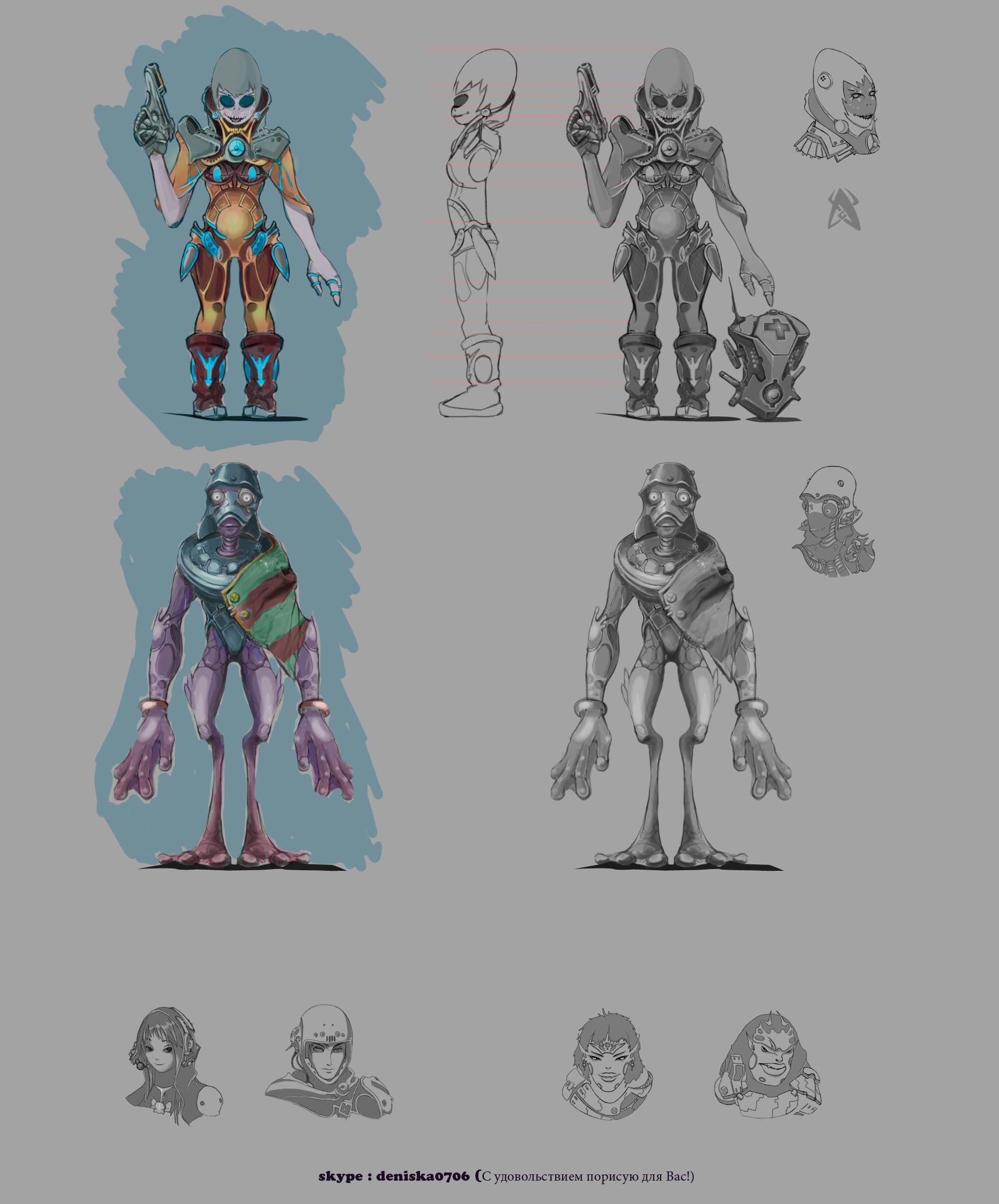 Нужен скетч персонажа для игры - дизайнер Hyena070