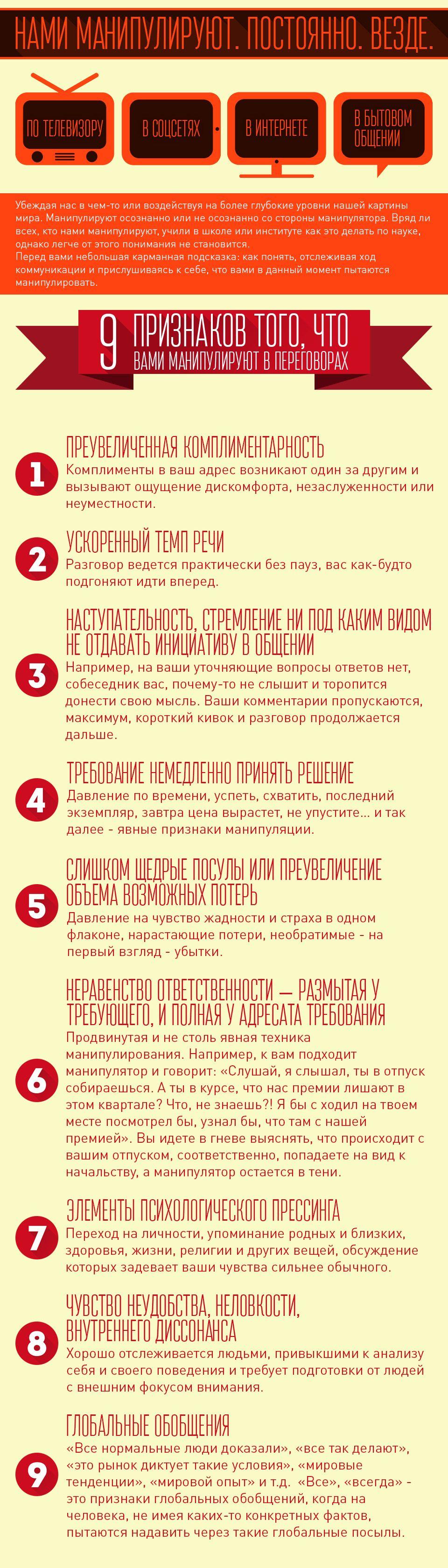 Инфографика по манипуляциям в переговорах  - дизайнер nikitandn