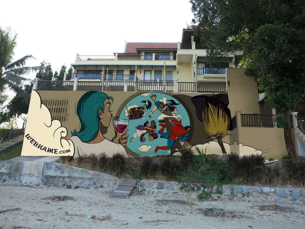 Эскиз для росписи стены - дизайнер Koustautiu