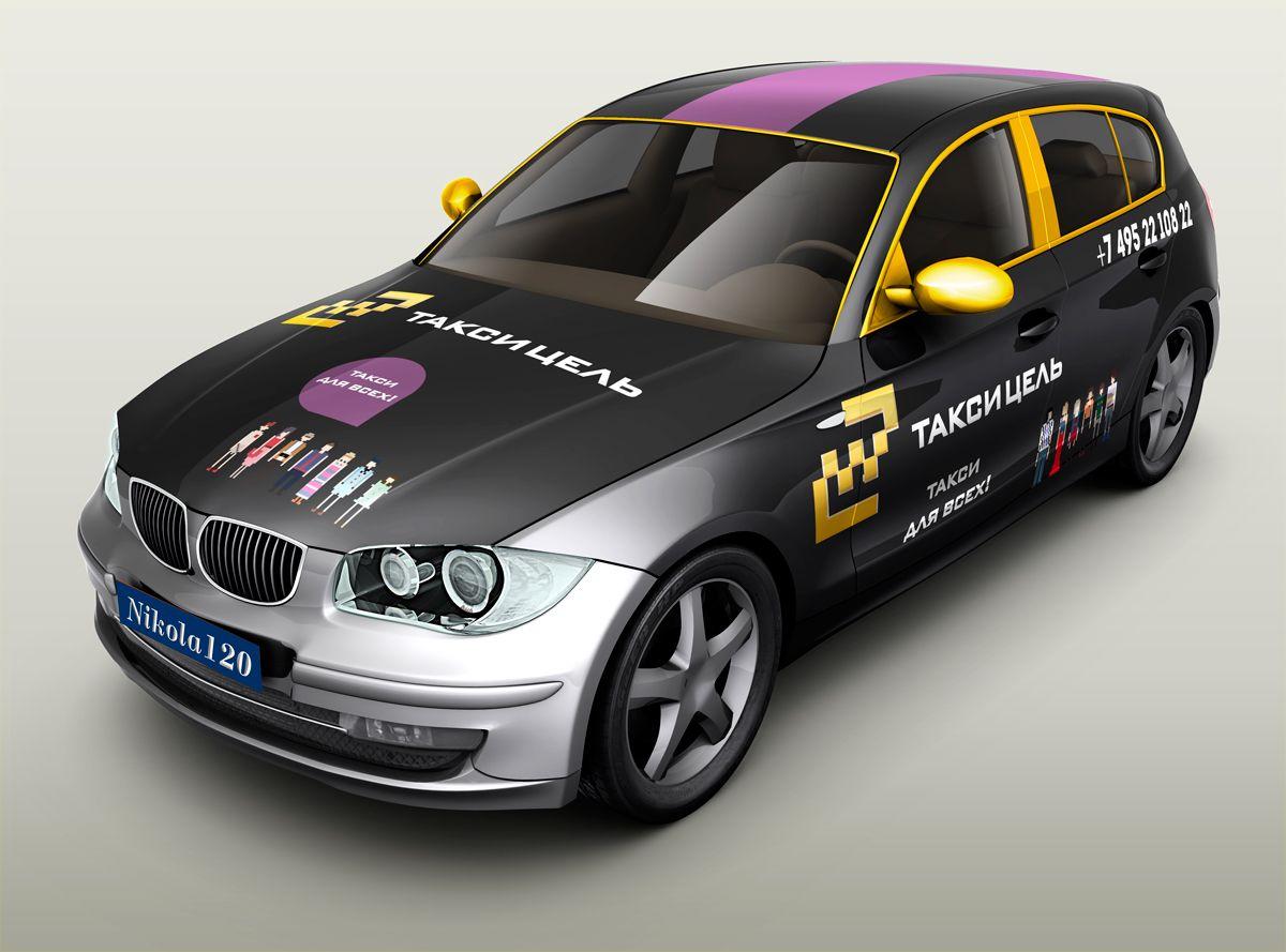 Рекламное оформление автомобиля такси - дизайнер takera