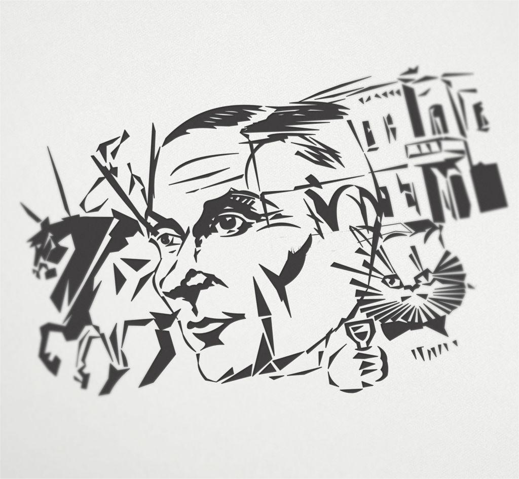 Плакат-портрет Михаила Булгакова - дизайнер Keroberas