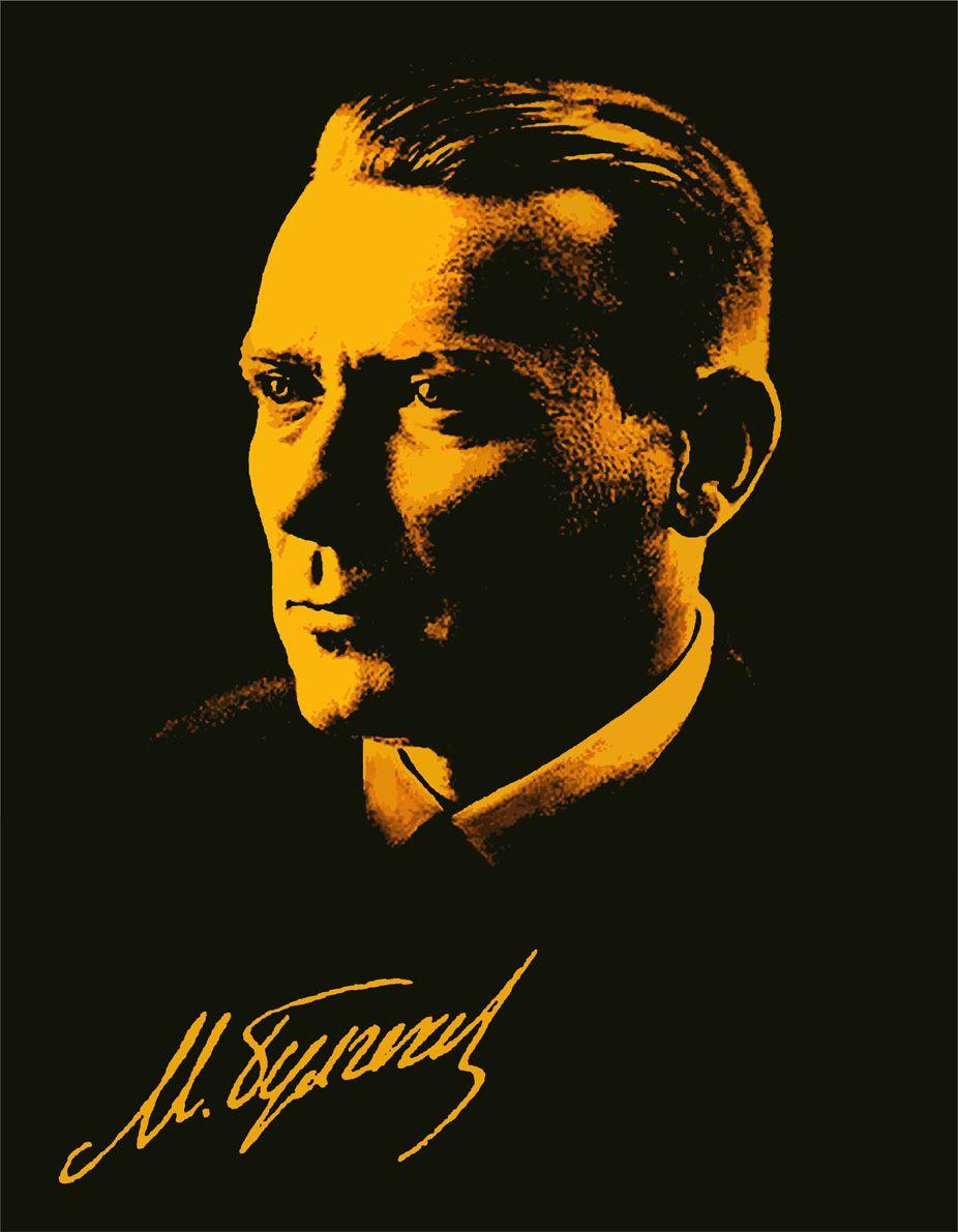 Плакат-портрет Михаила Булгакова - дизайнер GreenTraitor