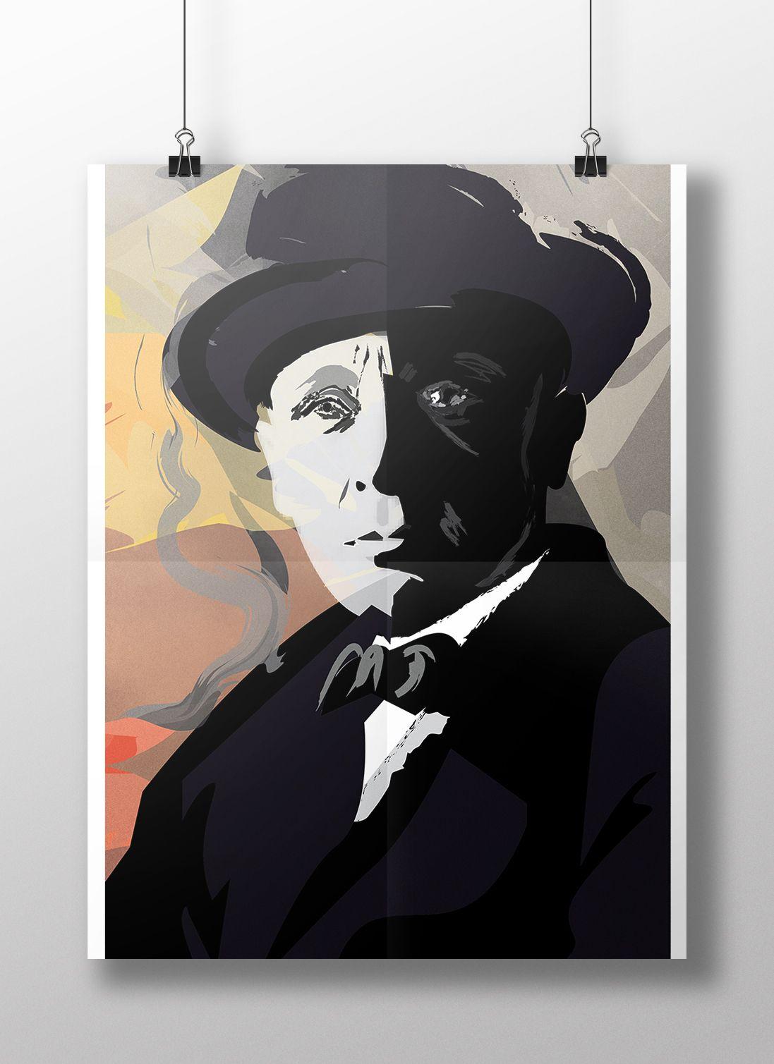Плакат-портрет Михаила Булгакова - дизайнер luveya