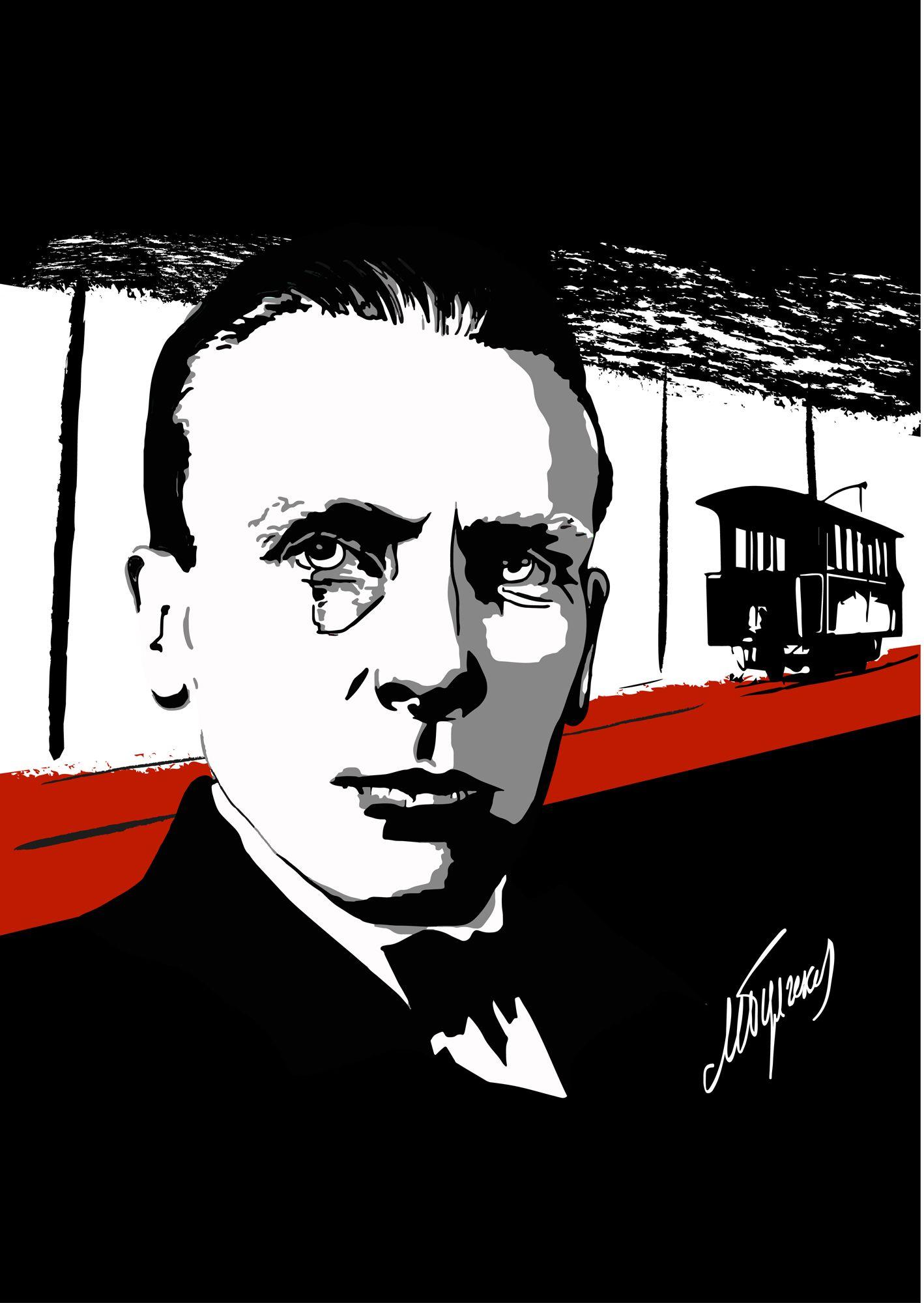 Плакат-портрет Михаила Булгакова - дизайнер GL_Sonts