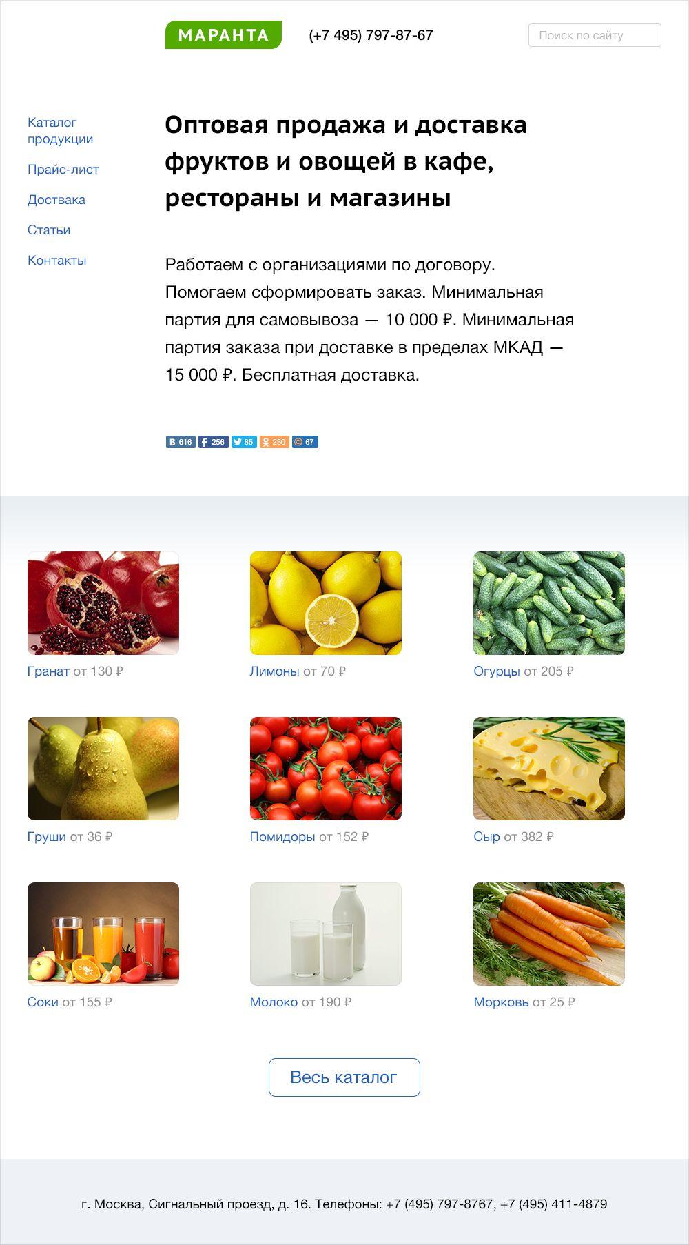 Веб-сайт для Оптовая продажа фруктов - овощей - дизайнер 001