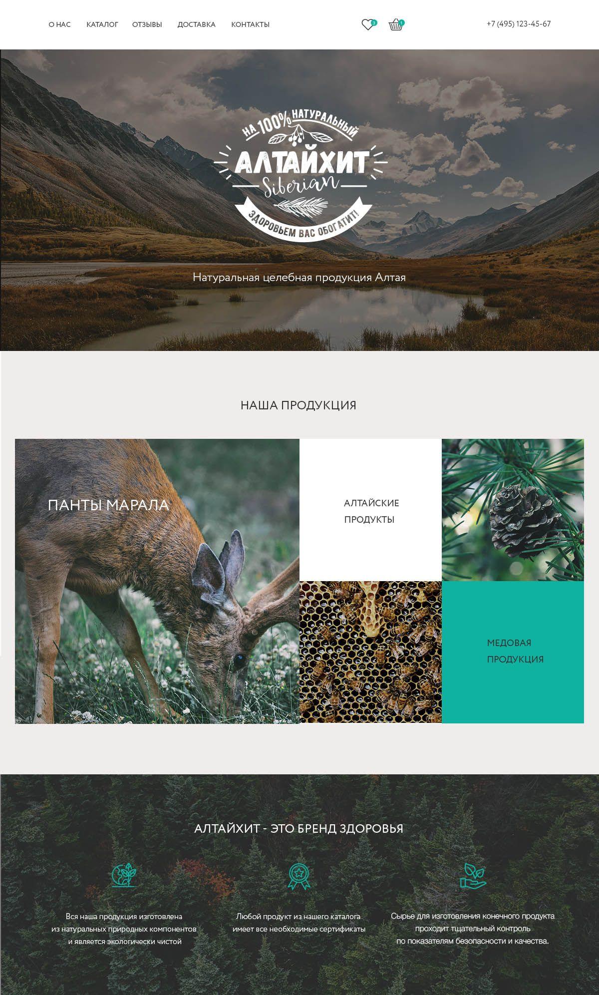 Веб-сайт для Интернет магазин АлтайХит - дизайнер euzbekova
